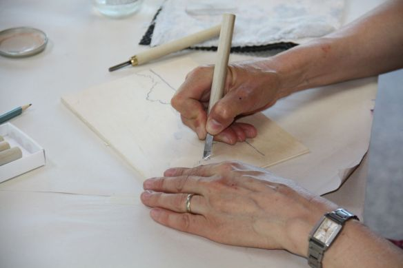 Japanese Woodcut - Cutting