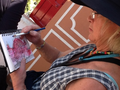 Alison drawing the Palace of Winds in Jaipur