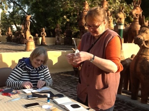 Anna & Jane working at the Sanskriti Museum