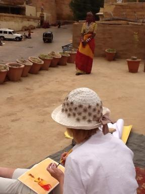 Drawing Rajasthani girl overlooking Jaisalmer fort