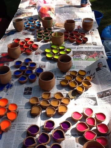 Preparing the paints from Indian pigments ...a real feast!