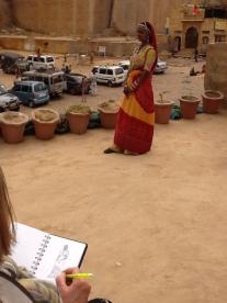 Jane drawing Rajasthani girl