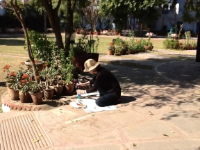 Sarah using pigment paints in Diggi Palace garden