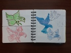 Sarah's birds in her identikit sketchbook