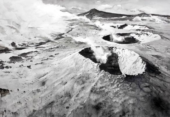 'Hverir, Iceland'134 x 187cm Ink on paper, volcanic dust-5266