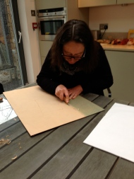 Sara working on the woodblock
