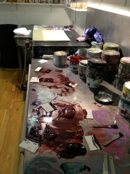 Mixing the inks at Stoney Road