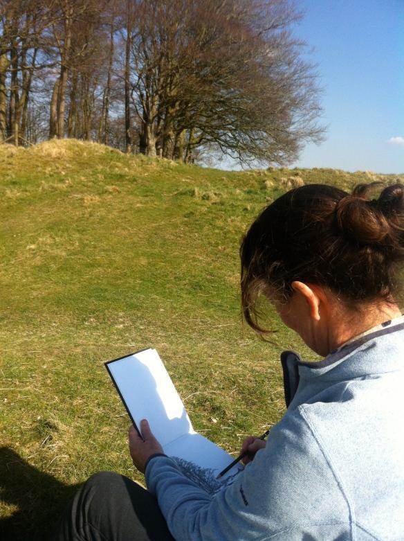 Sara at Cherhill Downs drawing