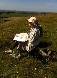 Kathy admiring the view at Cherhill