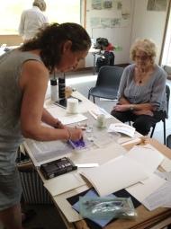 Sara preparing colour