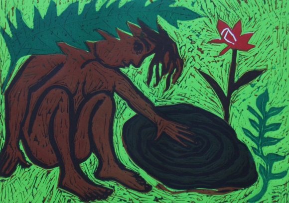 Eileen Cooper RA Homecoming, woodcut