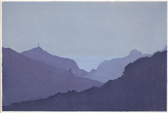 Sara Lee 'Refuge' 2013, Woodcut (in the ukiyo-e tradition), 30 x 45 cms