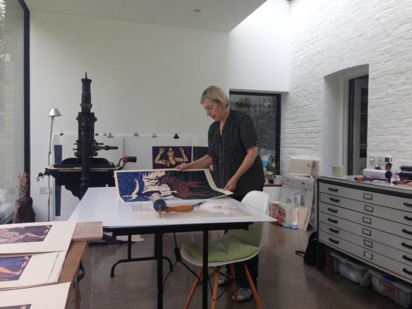 Eileen Cooper RA working in her new studio.