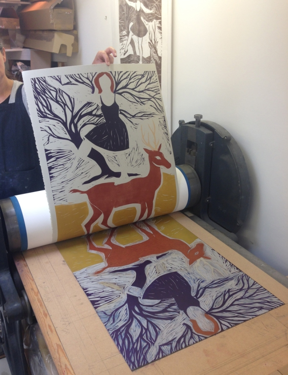 Hand coloured block one of 'Diana and Actaeon' on the press