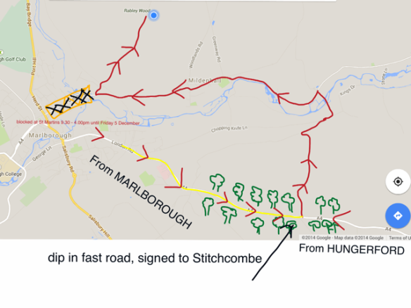 Road Diversion to Rabley Via Stitchcombe