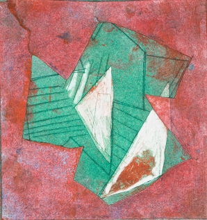 Liz Scott, 'Abstract II, (Green & red), Monotype