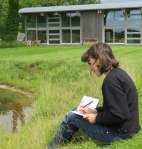 Katherine Jones drawing by the Rabley pond. Photo courtesy of Marlborough News Online (see article link below)