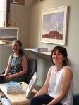 Sara Lee (Artist in Residence 2015-16) handing over to Katherine Jones at Rabley.