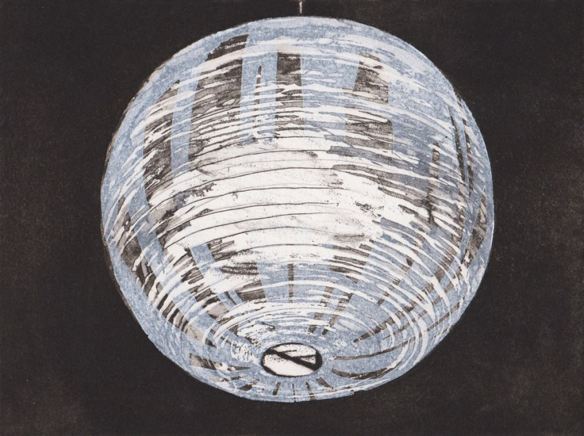 Katherine Jones, Lamp Shade, Sugarlift aquatint etching, 33 x 36cm, Plate size 14.7 x 19.7cm, Edition 25, Eton Portfolio