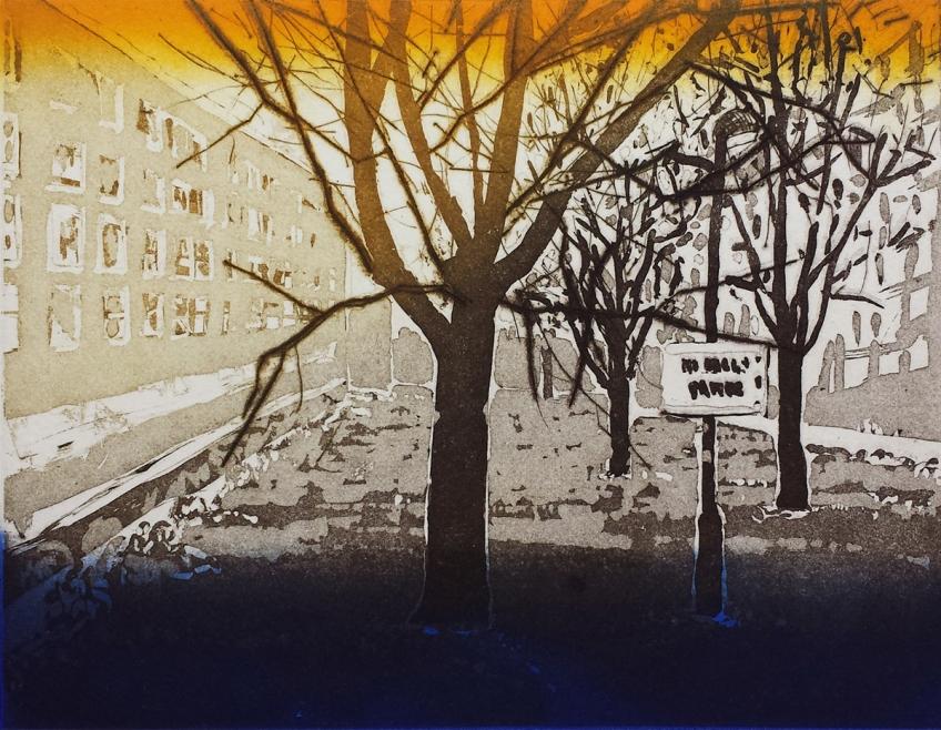 Katherine Jones, No ball games, 2016, Sugarlift aquatint etching, 31 x 37 cm, Plate size 14.7 x 19.7cm, Edition 25, Tulse Hill Portfolio